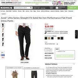 Axist Ultra Series Straight-Fit Solid No-Iron Performance Flat-Front Dress Pants