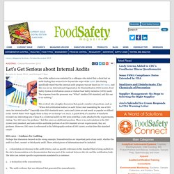 FOOD SAFETY MAGAZINE - OCT/NOV 2015 - Let's Get Serious about Internal Audits