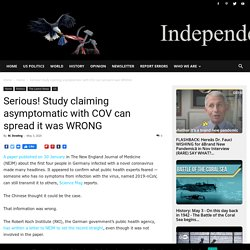 Serious! Study claiming asymptomatic with COV can spread it was WRONG