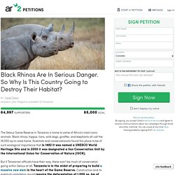 texte de la pétition: Black Rhinos Are In Serious Danger. So Why Is This Country Going to Destroy Their Habitat?