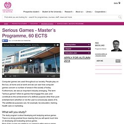 Serious Games - Education - University of Skövde