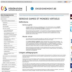 Serious games et mondes virtuels