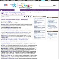Des serious games pour l'histoire, la géographie et l'EMC (ECJS) - DANE