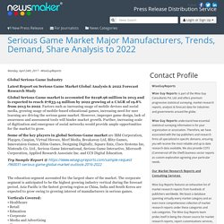 Serious Game Market Major Manufacturers, Trends, Demand, Share Analysis to 2022