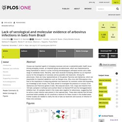 PLOS 07/11/18 Lack of serological and molecular evidence of arbovirus infections in bats from Brazil