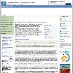 CDC EID - FEV 2013 - Au sommaire: High Seroprevalence for Typhus Group Rickettsiae, Southwestern Tanzania