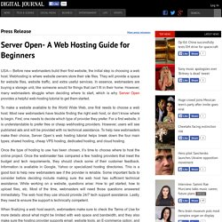 Server Open- A Web Hosting Guide for Beginners
