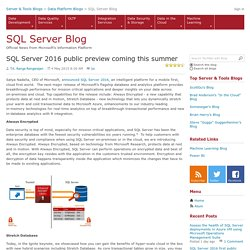 SQL Server 2016 public preview coming this summer - SQL Server Team Blog
