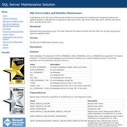 SQL Server Index and Statistics Maintenance