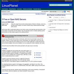 5 Free or Open NAS Servers - Linux and BSD Power - Reports - LinuxPlanet