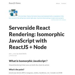 Serverside React Rendering: Isomorphic JavaScript with ReactJS + Node – ReactJS News