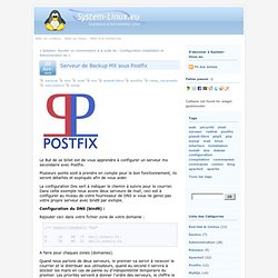 Serveur de Backup MX sous Postfix