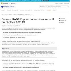 Serveur RADIUS pour connexions sans fil ou câblées 802.1X
