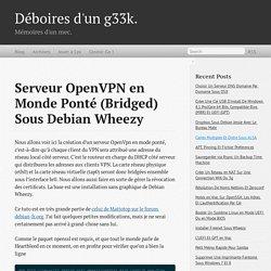 Serveur OpenVPN en Monde Ponté (Bridged) Sous Debian Wheezy - Déboires d'un g33k.