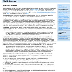 UK Civil Service - Special Advisers - Homepage