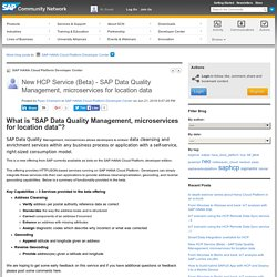 New HCP Service (Beta) - SAP Data Quality Manag...