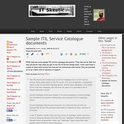 Itil servicecatalog for Itil service catalogue template