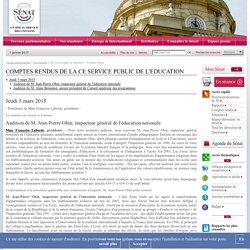 CE Service public de l'éducation: compte rendu de la semaine du 2 mars 2015
