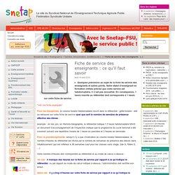 Fiche de service des enseignants : ce qu'il faut savoir - Snetap-FSU