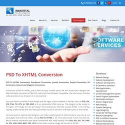 Psd to XHTML Service - Immortals Technologies Pvt Ltd