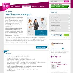Health service manager Job Information