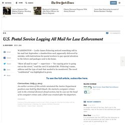U.S. Postal Service Logging All Mail for Law Enforcement