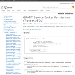 GRANT Service Broker Permissions (Transact-SQL)