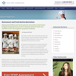 Foreign Recruitment Agency and Staffing for Food Service Hospitality Tourism Industry Canada