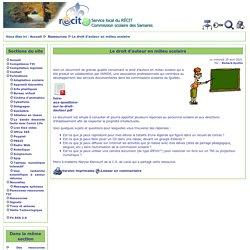 Service local du Récit des Samares > Le droit d'auteur en milieu scolaire