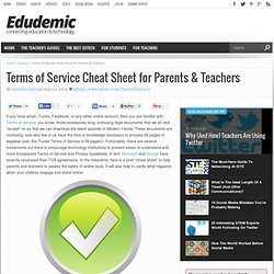 Terms of Service Cheat Sheet for Parents & Teachers