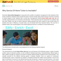 Why Service Of Home Tuition Is Inevitable?