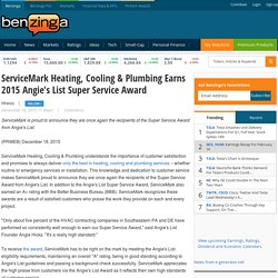 Heating, Cooling & Plumbing Earns 2015 Angie's List Super Service Award