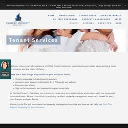Tenant Services, Certified Property Solutions