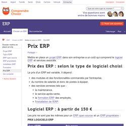 Prix des ERP et des services associés - ComprendreChoisir