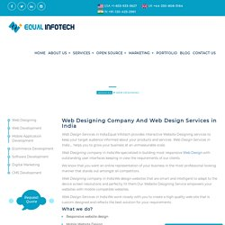 Web Design Services in India- Web Designing Company in India! Equal Infotech