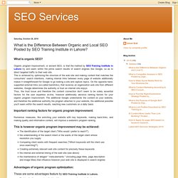 SEO Services: What is the Difference Between Organic and Local SEO Posted by SEO Training Institute in Lahore?