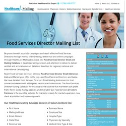 Food Services Director Mailing List