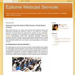 Students Enjoy the Distinct Effectiveness of Web Based Training