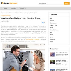 Services Offered by Emergency Plumbing Firms