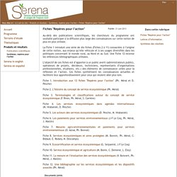 """Serena - Services environnementaux et usages de l'espace rural - Fiches """"Repères pour l'action"""""""