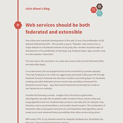 Web services should be both federated and extensible cdixon.org – chris dixon's blog