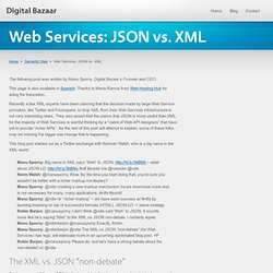 Web Services: JSON vs. XML ? Digital Bazaar