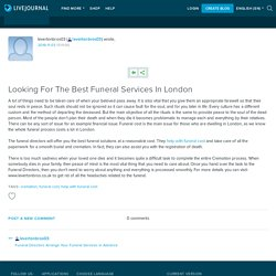 Looking For The Best Funeral Services In London: levertonbros03