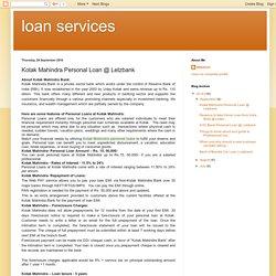 loan services: Kotak Mahindra Personal Loan @ Letzbank