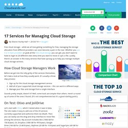 17 Services for Managing Cloud Storage