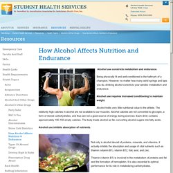 Student Health Services - How Alcohol Affects Nutrition and Endurance