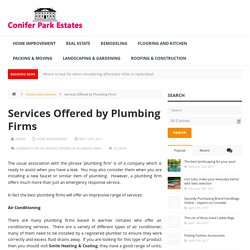 Services Offered by Plumbing Firms