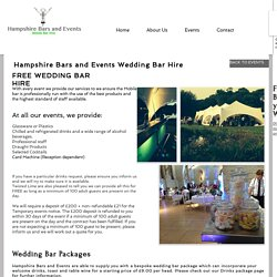 Find Wedding Bar Hire Services in Portsmouth and Hampshire
