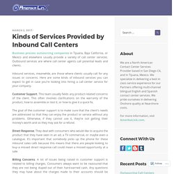 Kinds of Services Provided by Inbound Call Centers