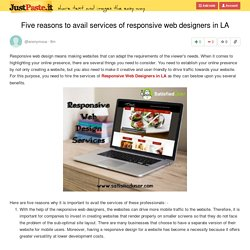 Five reasons to avail services of responsive web designers in LA